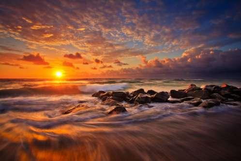 Boynton Beach Ocean Inlet at Sunrise Rushing Wave