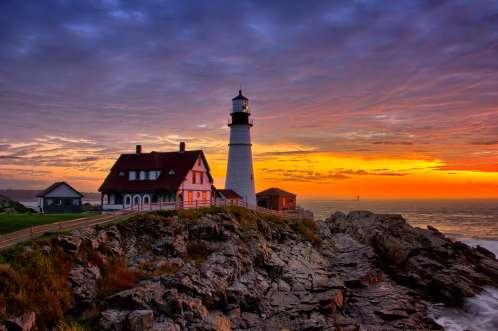 Portland Maine Lighthouse at Cape Elizabeth During Sunrise