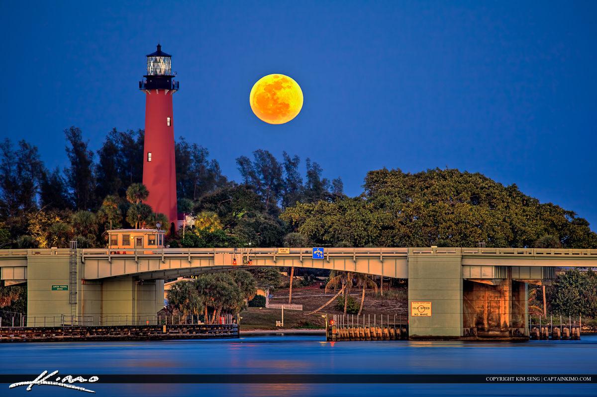 Jupiter Full Moon Blue Clear Sky Over Lighthouse