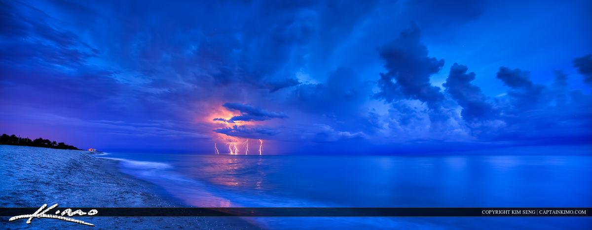 Lightning Storm at Beach Over the Atlantic Ocean
