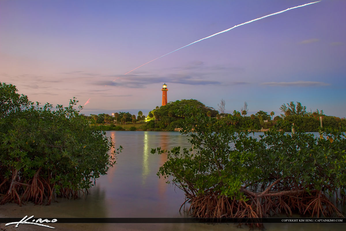 Falcon 9 Rocket Launch flying over the Jupiter Inlet Lighthouse.