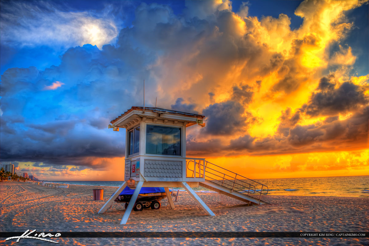 Beauitful sunrise at the beach in Fort Lauderdale, Florida in Broward County at the park.