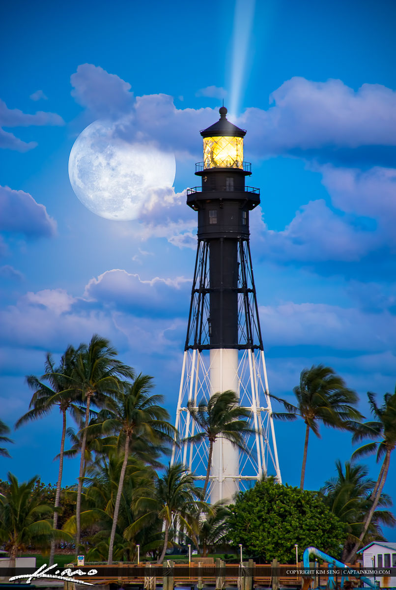 Gorgeous May Flower moon rise over the Hillsboro Inlet Lighthouse at Pompano Beach, Florida.