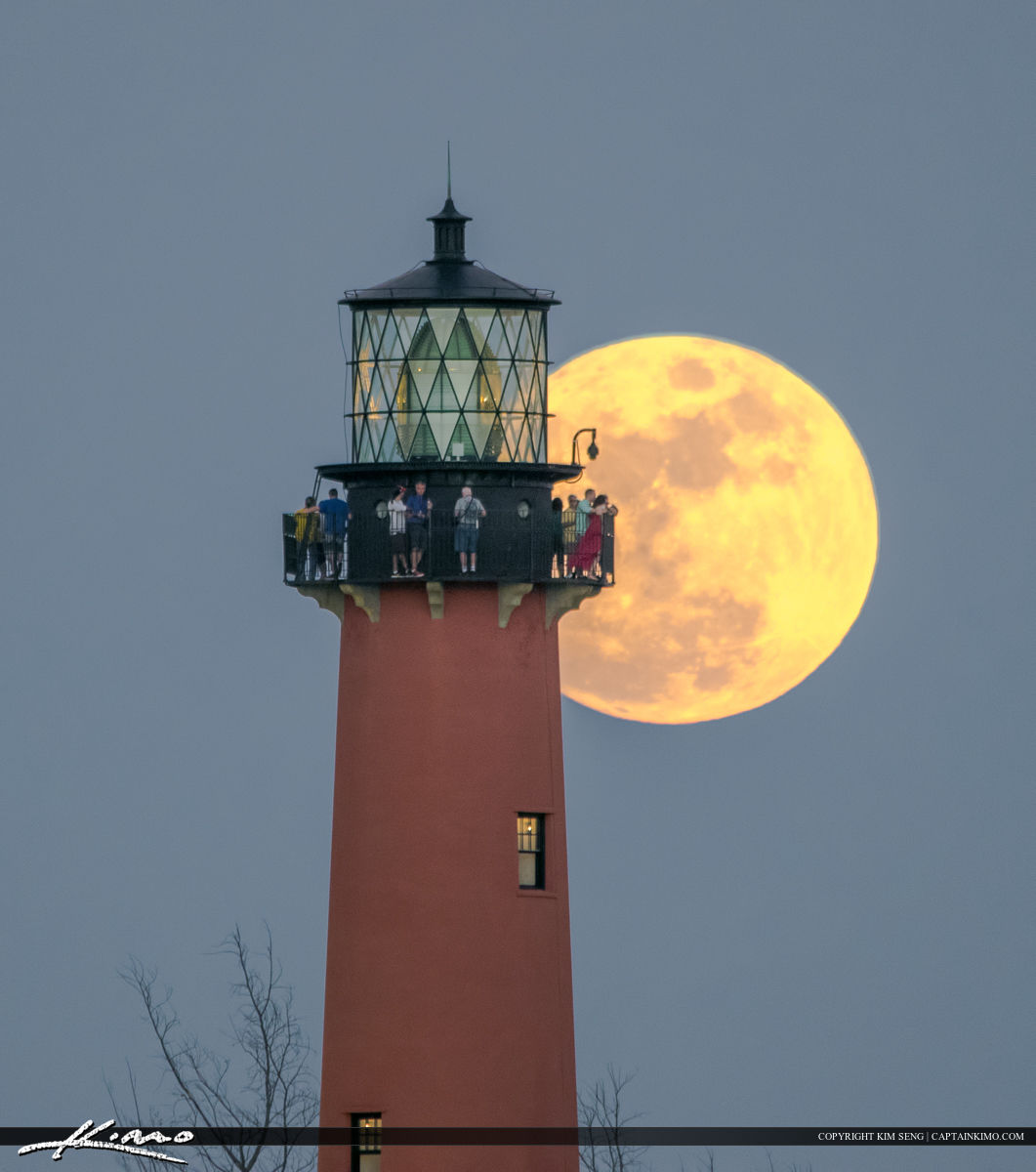 Jupiter Lighthouse during a full moon from Sawfish Bay Park in Palm Beach County Florida.