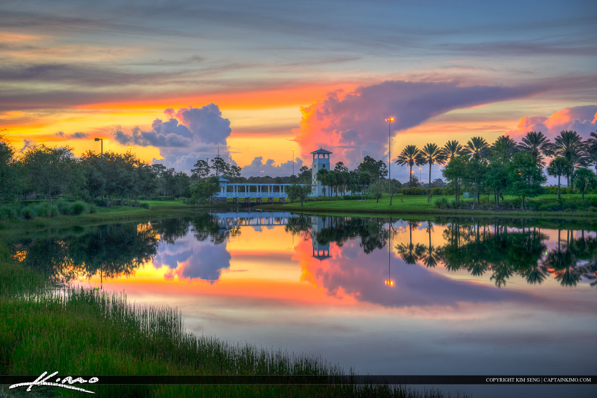 The Lake at the Tradition in Port St. Lucie Florida durign sunrise over the Tower in St. Lucie County. HDR photography image processed in Photomatix Pro.