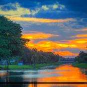 Canal Sunset at Palm Beach Gardens Florida