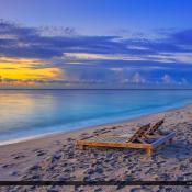 Deerfield Beach Fishing Pier Sunrise Chair on Sand