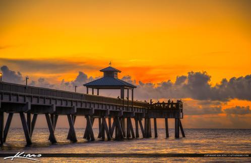 Deerfield beach fishing pier sunrise warm colors for Deerfield beach fishing pier