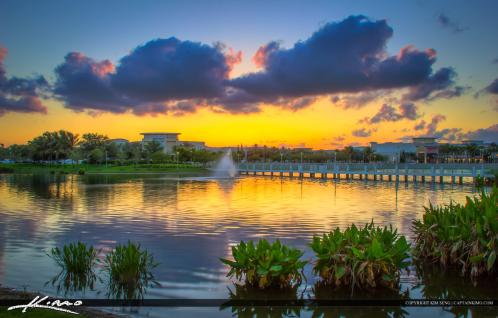 Downtown at the palm beaches purple sunset at lake - Palm beach gardens mall shooting ...