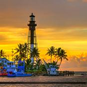 Hillsboro Lighthouse Pompano Beach Sunrise Warm Colors