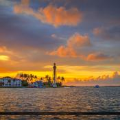 Hillsboro Lighthouse Pompano Beach Sunrise Wide Pano