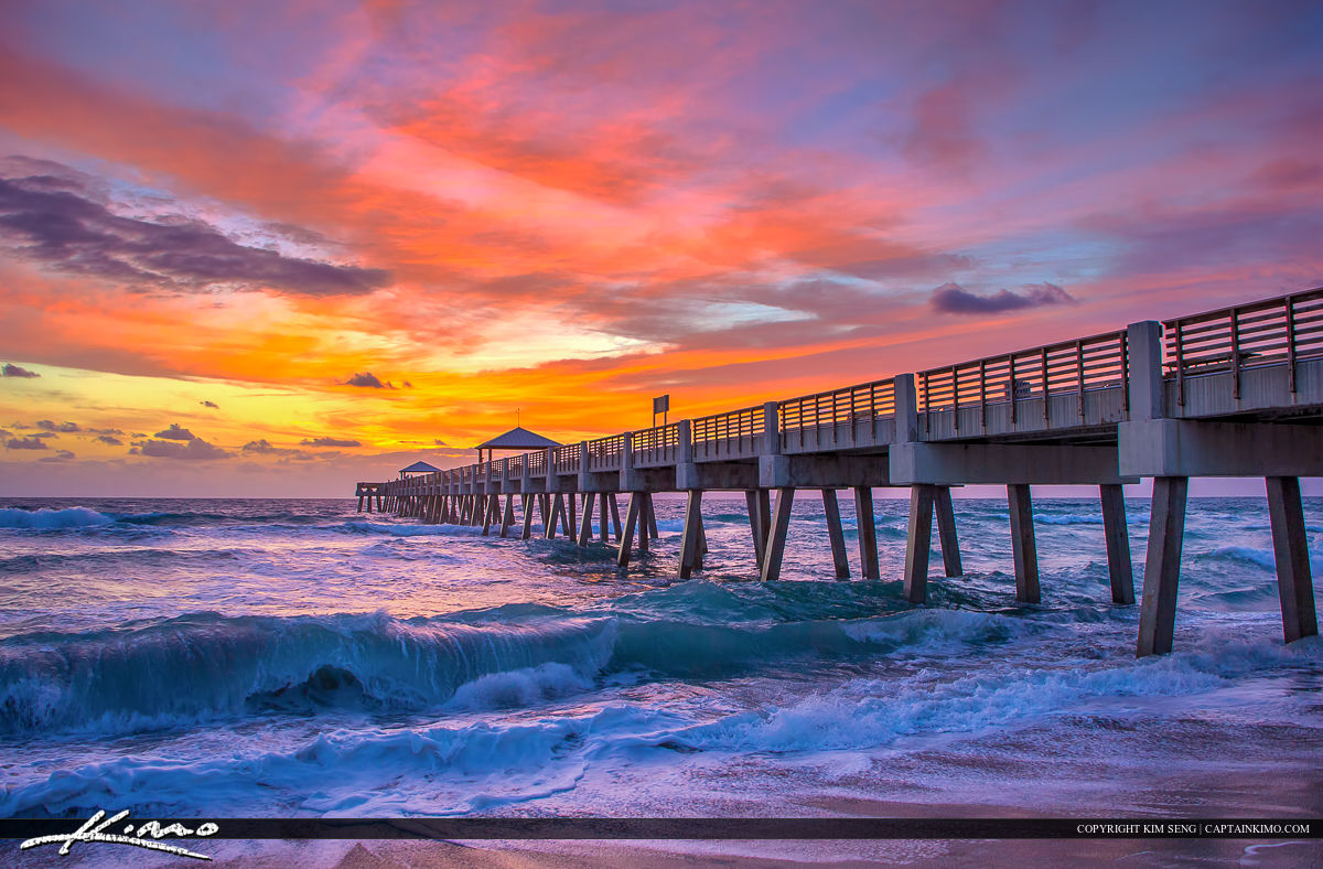 Juno beach pier sunrise with wave hdr photography by for Juno fishing pier