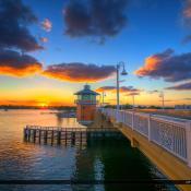 Lantana Florida Drawbridge Sunset Over Warm Colors