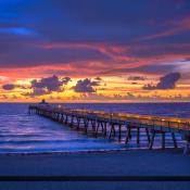 Pier at Deerfield Beach Over the Ocean durign Sunrise
