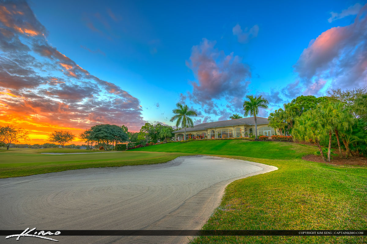 abacoa golf course clubhouse during sunset