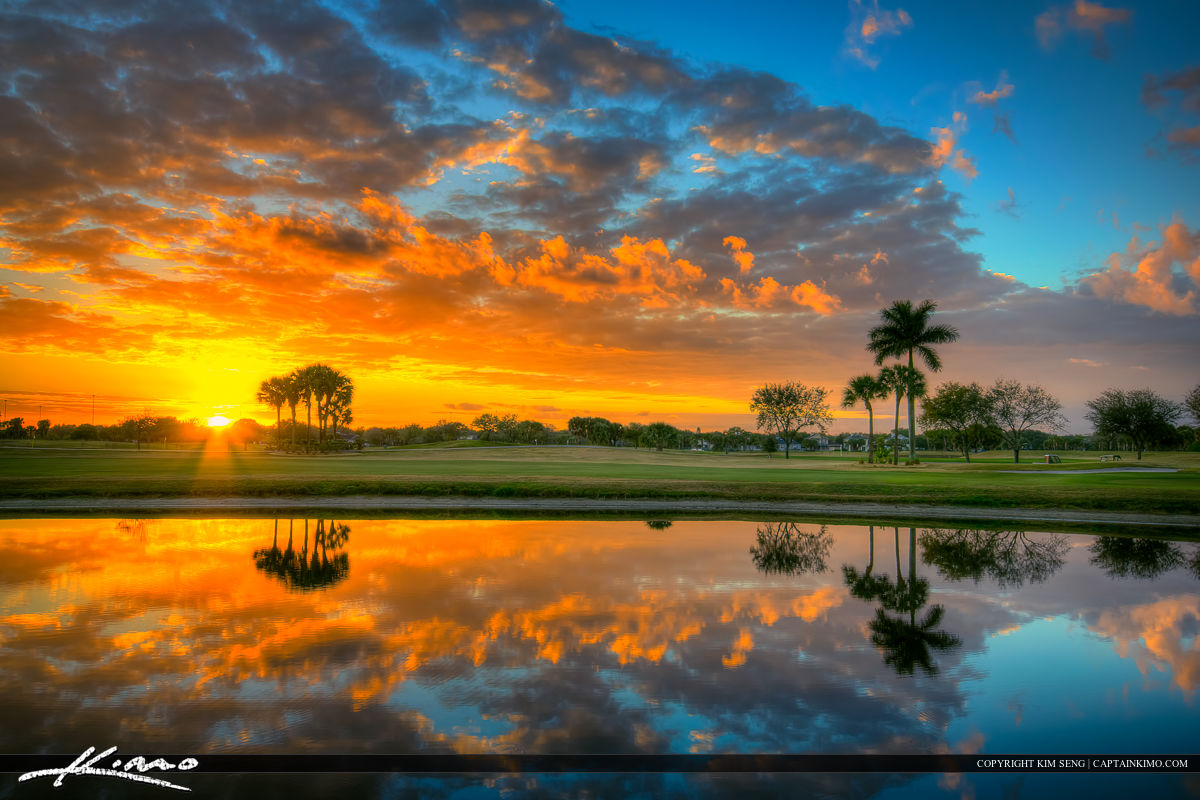 Beautiful Sunset Over Abacoa Golf Course in Jupiter Florida