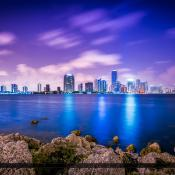 Miami Skyline along Waterway in Miami-Dade County Florida