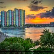 Riviera Beach Sunset Over Phil Foster Park from Blue Heron Bridg