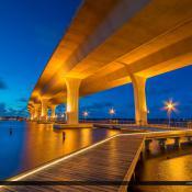 Under the Roosevelt Bridge at Night Stuart Florida