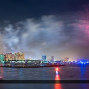 Beautiful fireworks display at the 2015 Fourth or July show in West Palm Beach, Florida along the waterway in Palm Beach County. Image tonemapped and processed using Photomatix and Topaz software.