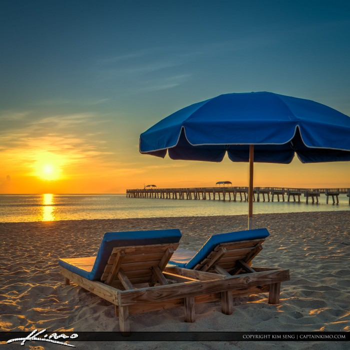 Beach Chairs and Umbrella at Lake Worth Pier Square