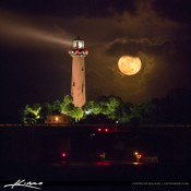 Moon rise from a windy Thanksgiving Day at Jupiter Inlet Lighthouse in Jupiter, Florida along the waterway.