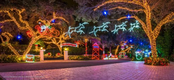 Snug Harbor Drive Christmas Lights Santa on Sled