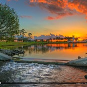 Sunset at Port St. Lucie Florida at the Tradition in St. Lucie County along the lake. HDR  image created in EasyHDR and Topaz software.