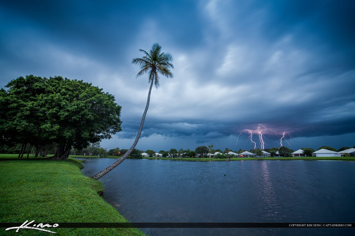 Reprocess of an old lightning photo from the lake in Palnm Beach Gardens Florida. Single exposure RAW processed in ACR and Lightroom.