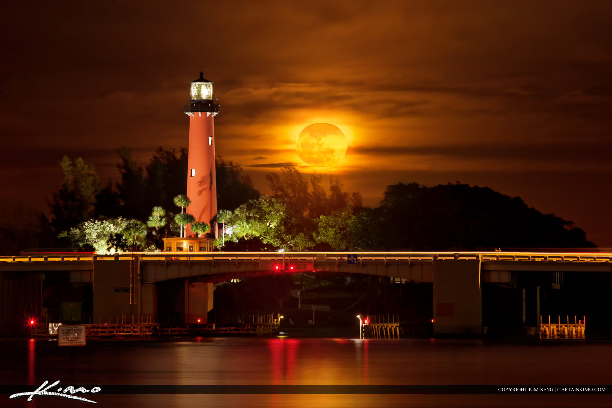 Burning Moonrise at Jupiter Inlet Lighthouse Florida