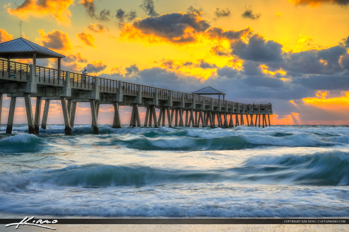 Beautiful waves in motion at the Juno Beach Fishing Pier in Palm Beach County, Florida. HDR image created with three exposure in Photomatix Pro.