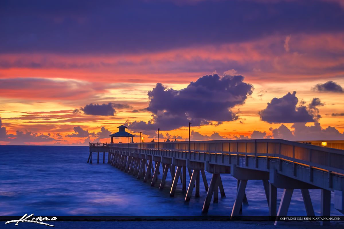 Deerfield Beach Fishing Pier at Sunrise Purple Colors