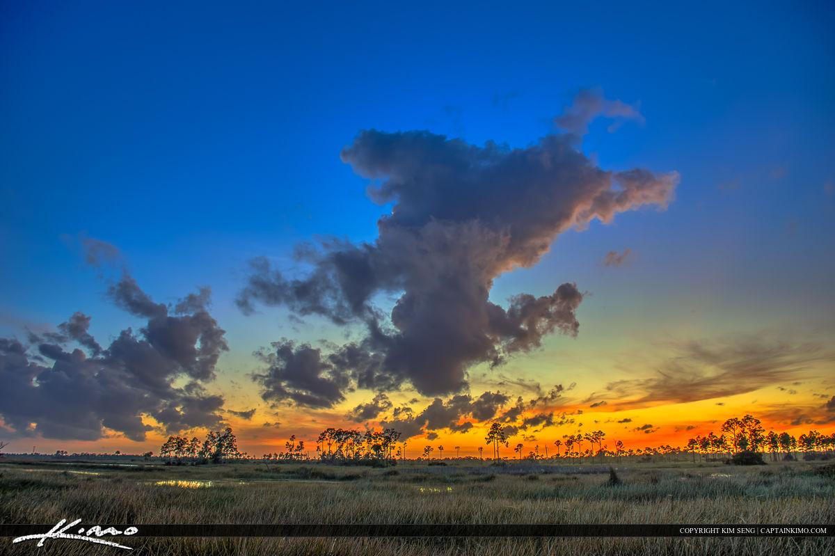 Florida Wetlands Jupiter Beauitful Sunset Clouds