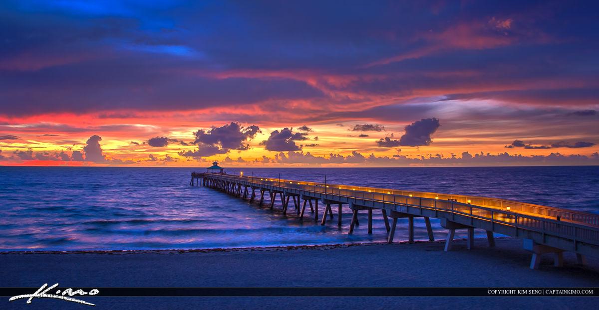 Pier at Deerfield Beach Over the Ocean During Sunrise