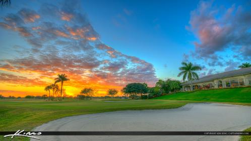 Abacoa Golf Course Clubhouse Fiery Sunset