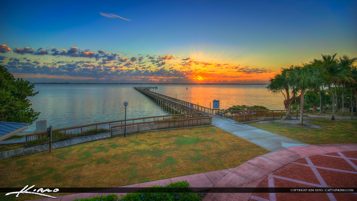 Indian Riverside Park Fishing Pier at Sunrise
