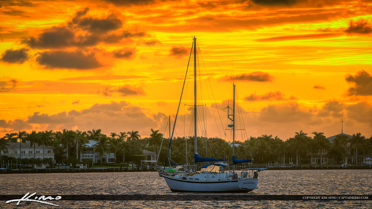 North Palm Beach Sunrise Sailboat at the Lake