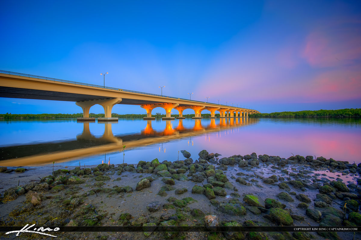 Veterans Memorial Bridge Palm City Florida with Rocks