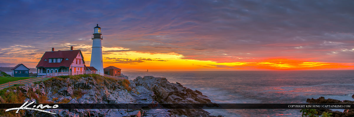 Cape Elizabeth Lighthouse Panorama Sunrise Portland Head Light
