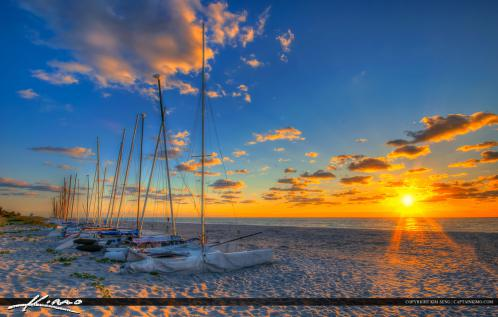 Delray Beach FL Sunrise Sailboats at Beach