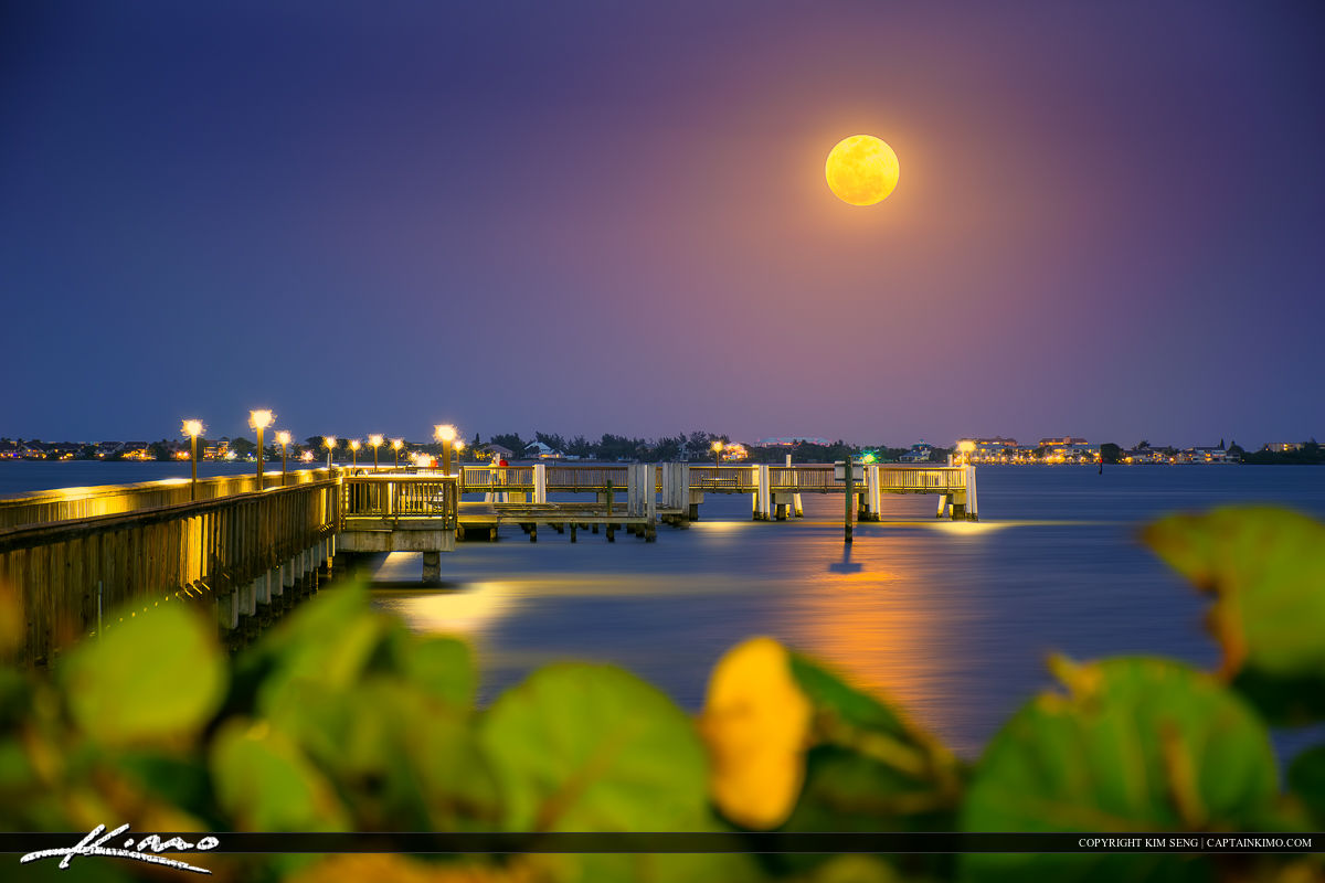 Jensen Beach Moon Rise at Indian Riverside Park Pier