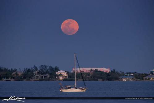 Jensen Beach Moon Rise at Indian Riverside Park Sailboat