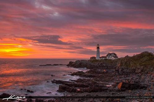Along the Cape in Maine at Fort Williams Park during sunrise.