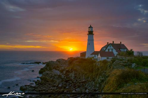 Magical sunrise at the Portland Head Light in Cape Elizabeth Maine.