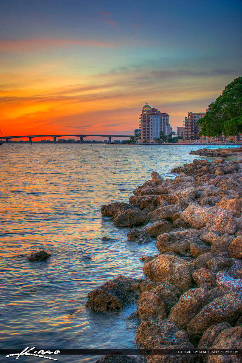 Sarasota Bayfront Park Sunset from Island Park