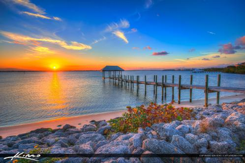 Stuart Florida Sunset Pier along Rocky Coast