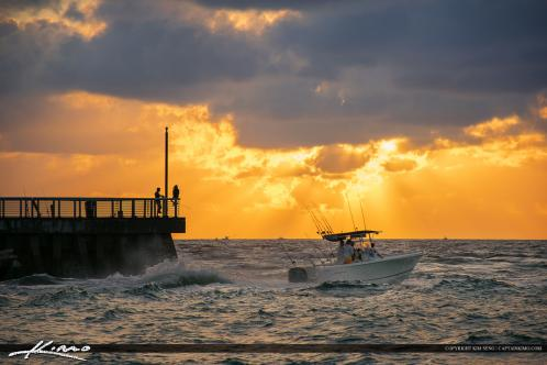 Boynton Beach Inlet Sunrise Fishing Boat