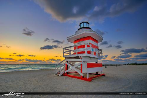 South Beach Miami Sunrise Lifeguard Tower Wide