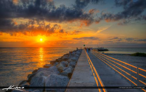 Sunrise at Jupiter Inlet Warm Light