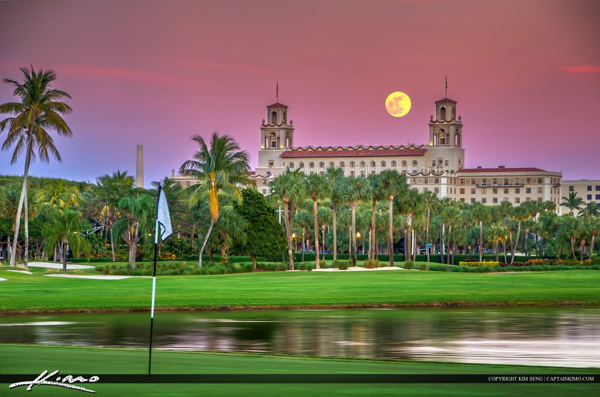 Full Moon Rise Breakers Hotel Golf Course Palm Beaches